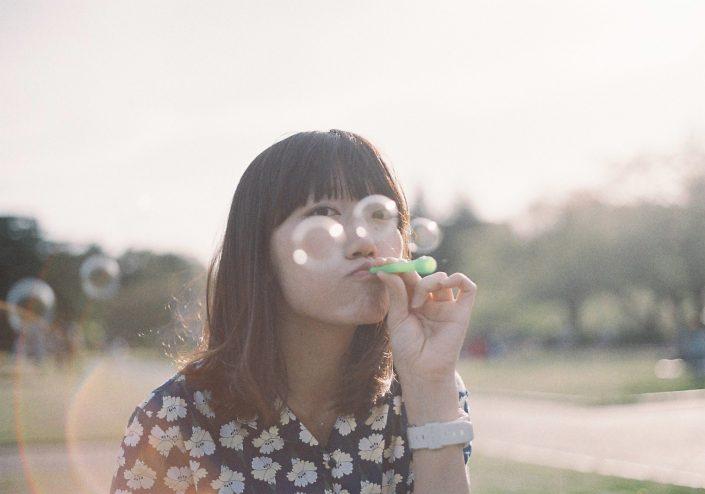 鶴間公園でシャボン玉